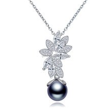 Tahiti pearl <strong>necklace</strong> pendant bridal jewelry <strong>necklace</strong> with 3A cz stones