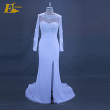 ED Bridal Real Picture Long Sleeve High Side Slit Lace Appliques Mermaid Wedding Dress