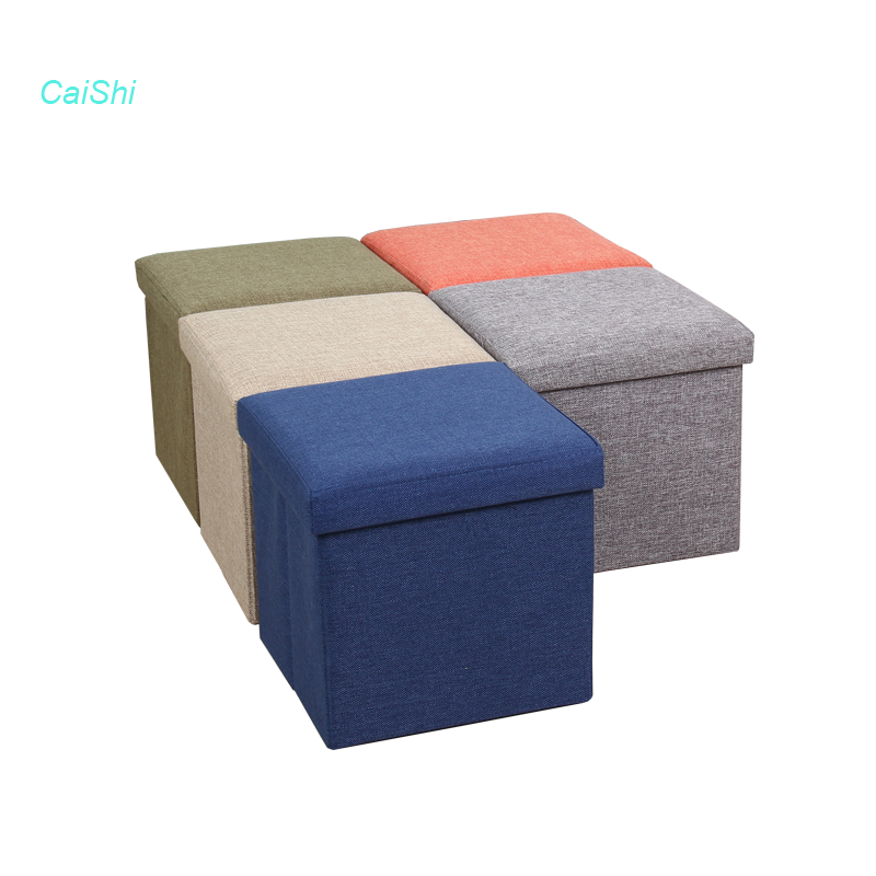 Polyester linen fabric storage ottoman changing shoes stool
