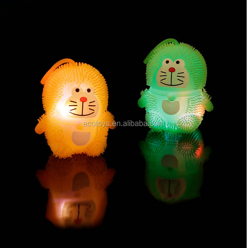 Soft TPR LED Light Cartoon Puffer Ball Toys For Kids Christmas Gifts Flashing Bouncy Ball
