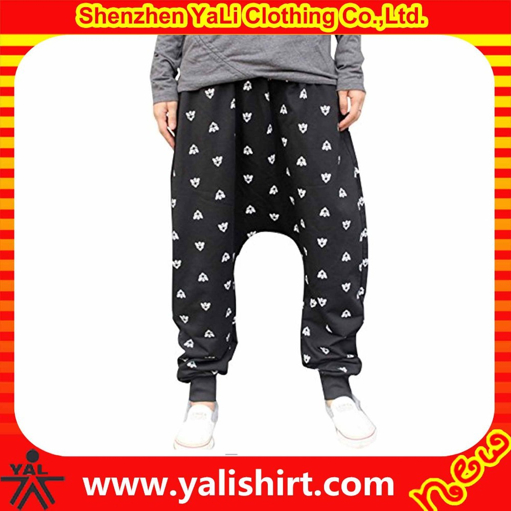 2015 hot sale high quality cheap drawstring polyester sublimation trendy men baggy hip hop pants