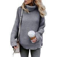Wholesale Autumn Winter Knit Women Pullover Sweaters Long Sleeves Turtleneck Women Sweater