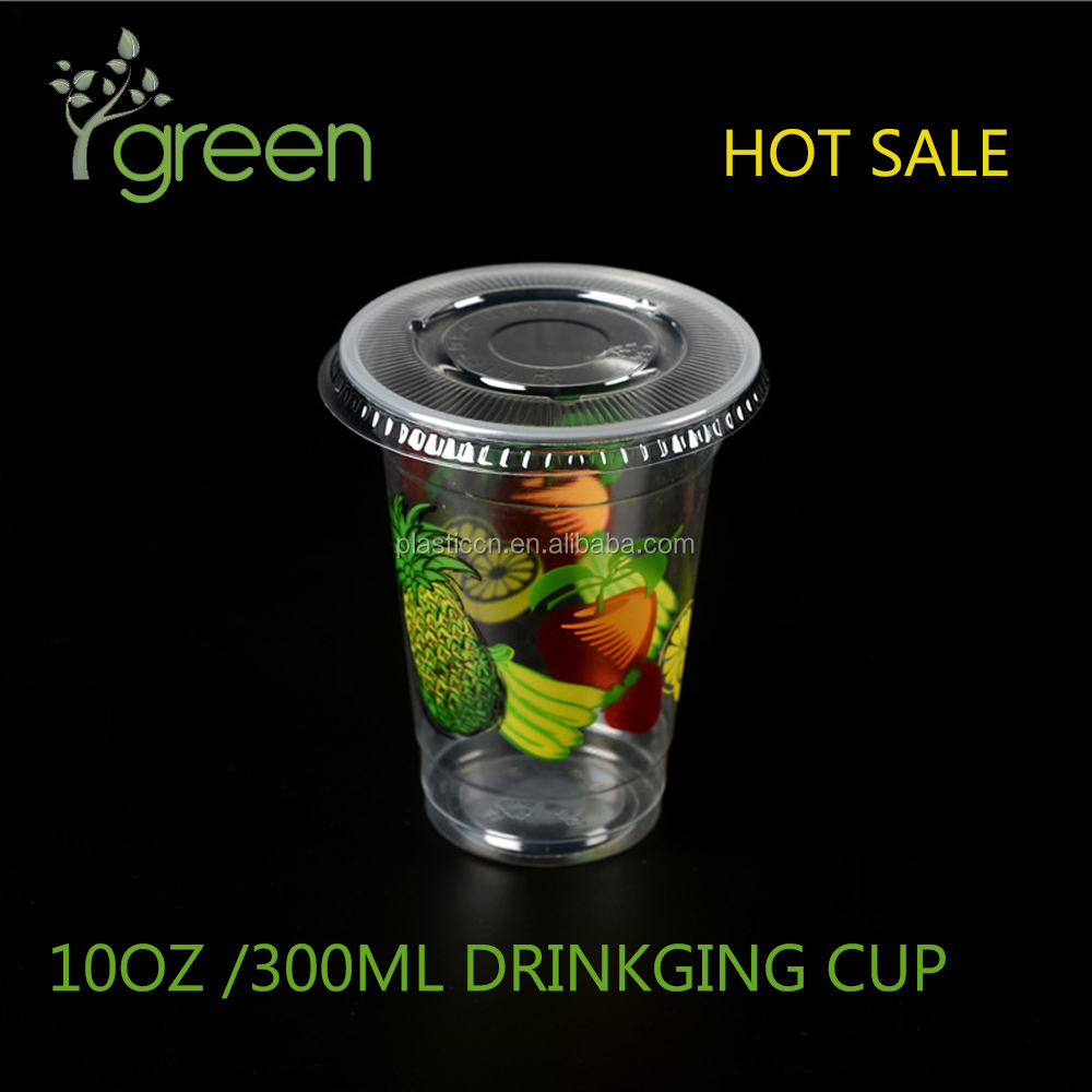 LOGO Printing 12oz PP/PET/PS fruit plastic cups with lid