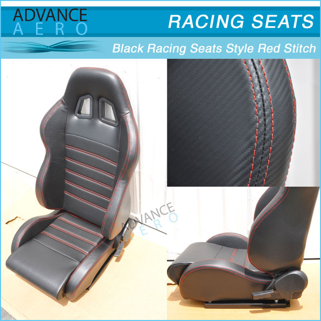 JDM SP Style Gray PVC Leather Reclinable Racing Bucket Seats w//Sliders Pair V17