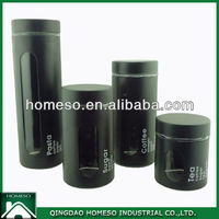 TEA SUGAR COFFEE BLACK STAINLESS STEEL COATED GLASS CANISTER SET/AIRTIGHT GLASS JARS WHOLESALE