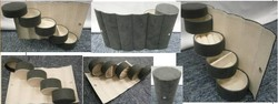 4 Tier Compartment Mini Velvet Travel Roll Up Jewelry Box Case Organizer Holder with Snap Closure -Grey