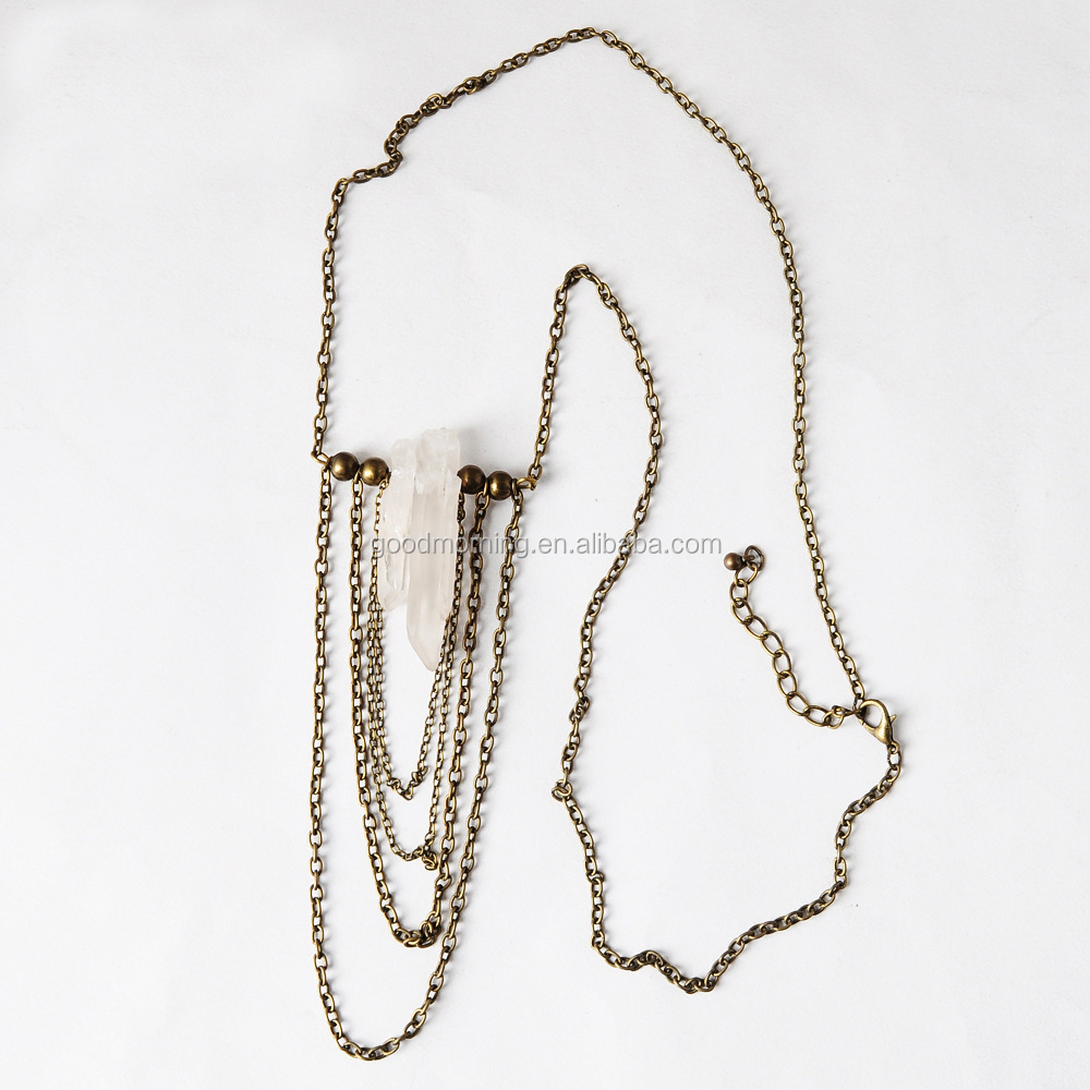 Quartz stone pendent vintage brass chain tassel fringe necklace
