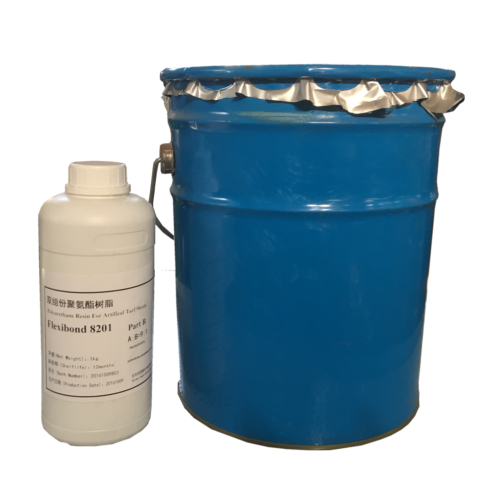 One and two component polyurethane glue for artificial turf construction and install