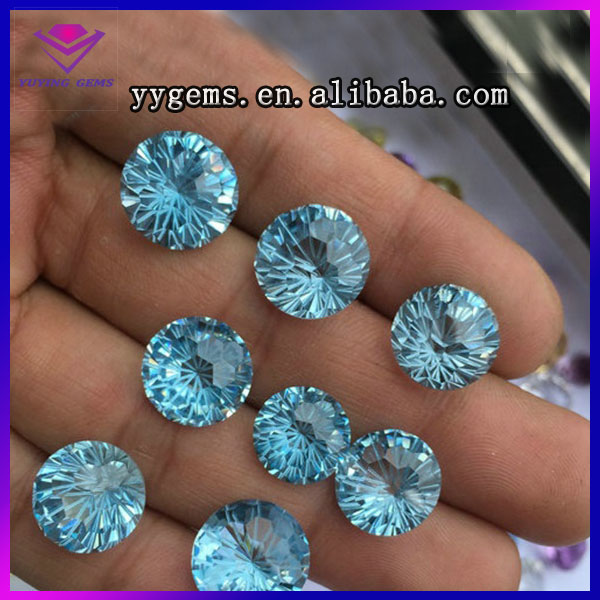 Natural blue topaz crystal 10mm firework cut Aquamarine quartz round