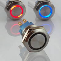 22mm Waterproof Double Led Dual Color Latching ON OFF Push Button 12V 24V 220V Red Blue illuminated Metal Stainless Steel Switch