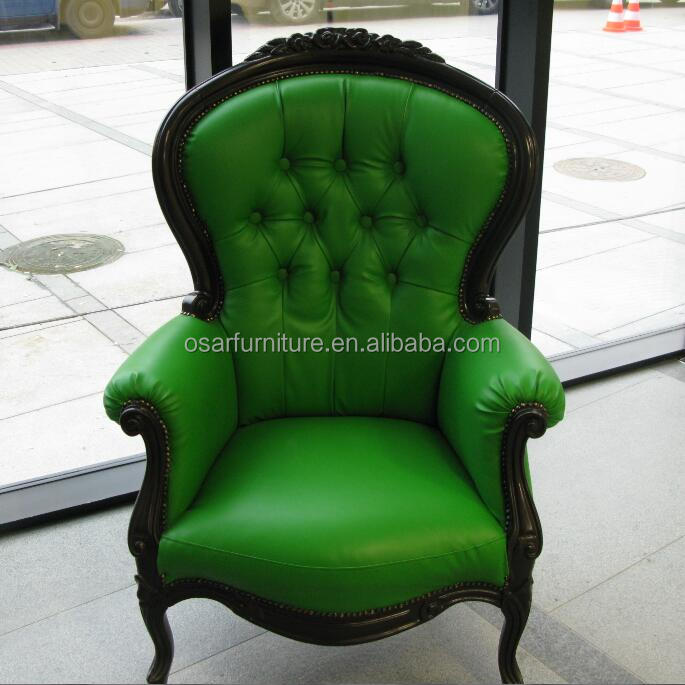 Antique Reproduction Furniture Green Leather Carved Wooden Armchair