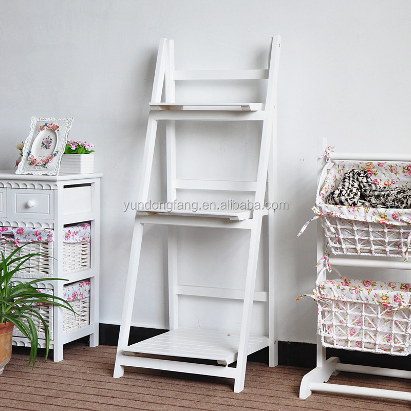 Good sale three tiers solid wood furniture - flower - wood - shelf - wall frame - storage rack/ foldable wood display racks
