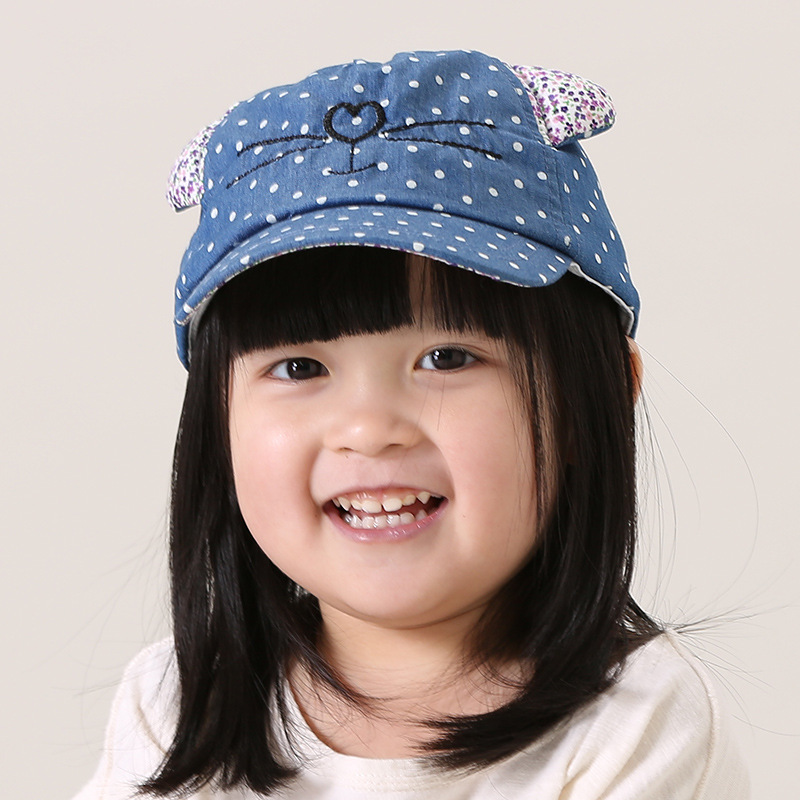S31634W Cute animal cat head baseball hat baby children fashion sun hat