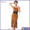 2016 Casual Tassel Women Dresses Sleeveless New Fashion Ladies Western Designs Spring Summer Dress With Belt
