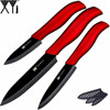 "High quality ceramic knife set 3"" paring 4"" utility 5"" slicing knife and black blade+red handle kitchen knives three-piece set"