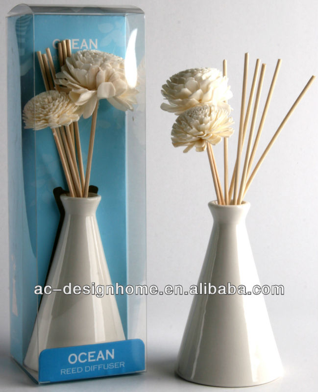 BLUE COLOR OCEAN FRAGRANCE 100ML AROMA HOME REED DIFFUSER GIFT SET W/CERAMIC BOTTLE, 2 PCS NATURAL FLOWER DECO AND 6 PCS REED