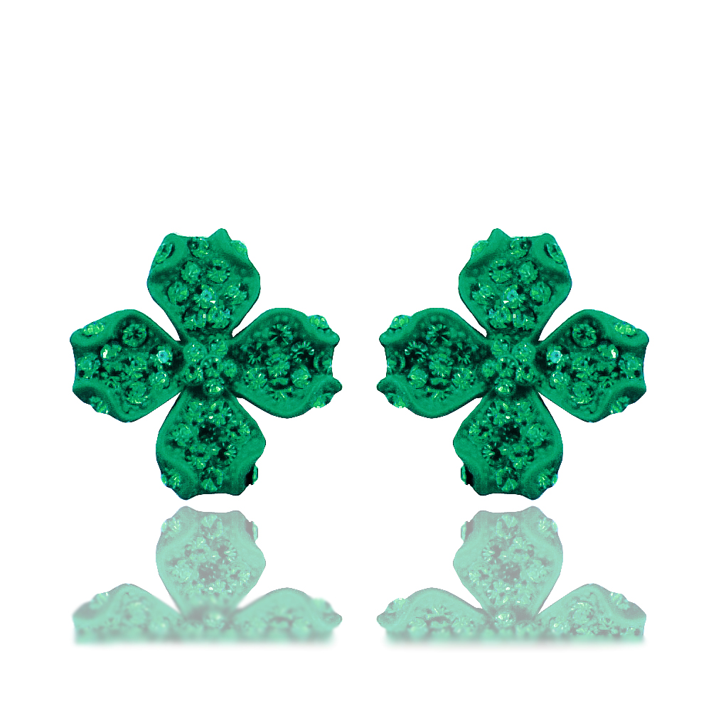 E072 Rhinestone Four Leaves Clover Ladies Stud Earrings Allergy Free Earrings Women Jewelry New 2017 Latest Earring Designs