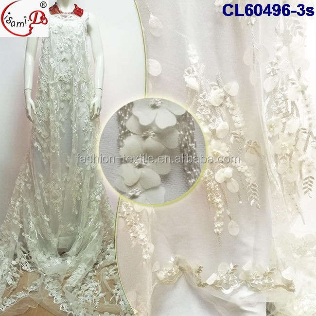 White 3d flower floral embroidered tulle fabric 2017 SGS wedding flower lace with beads top one lace