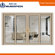 Strong quality powder coated thermal break aluminum tinted glass sliding doors with fixed design