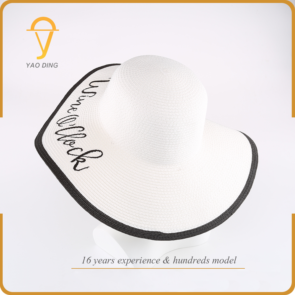 China wholesale cheap price fashion man lady paper straw custom embroidery floppy hats for women