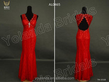 In Stock Newest Style Vneck Gorgeous Mermaid Evening Dress Actual Images