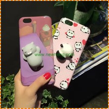 Hot Design Squishy Animal Toys Custom 3D Silicone Nail Finger Pinch Cat Phone Case for iphone 7