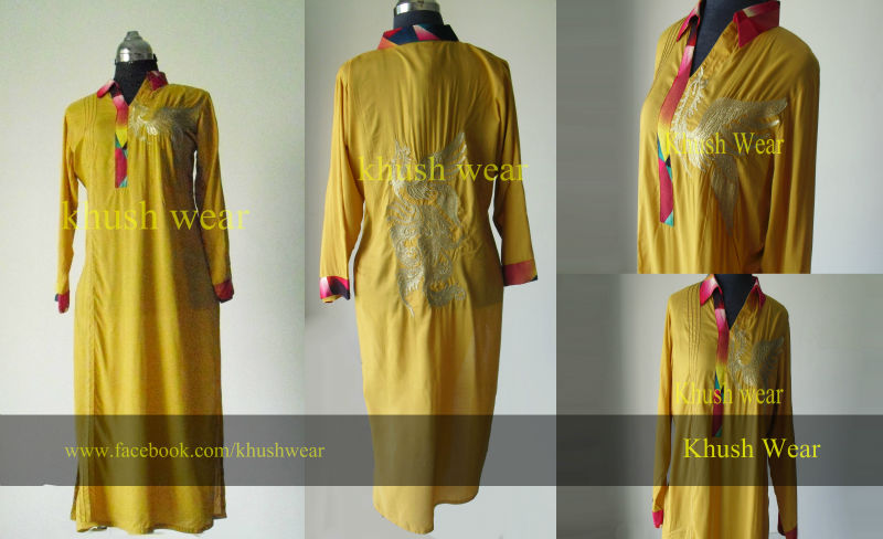 Fashion magazine mustard embroidery dress