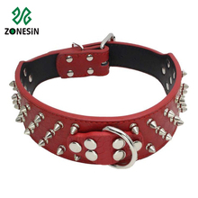 Cheap Fashion Spiked Studded Soft PU Leather Military Pet Dog Leashes Collars