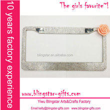 flower stainless steel license plate frame