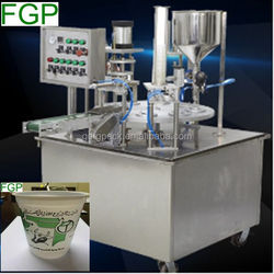 Automatic rotary yogurt cup filling and sealing machine/cup filler sealer machine in China