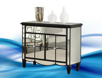 ZhaoHui ZHCS216 2 door one drawer black silver cabinet mirrored furniture
