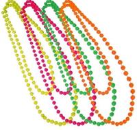 Fancy Dress Neon plastic Beads long Necklace 70's & 80's theme, costume neckace
