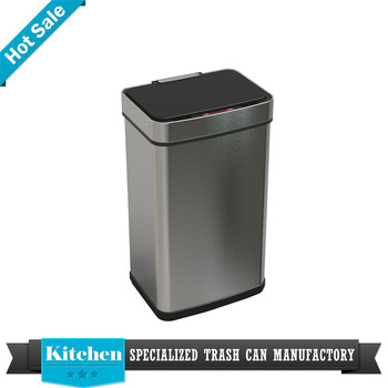 Stainless steel trash bin metal outdoor recycling bin kitchen compost pail