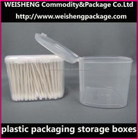 Plastic boxes packing cotton swabs, 300pcs/box cotton buds/pure cotton box