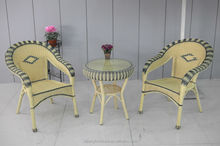 poly rattan/wicker outdoor furniture small glass table set garden furniture