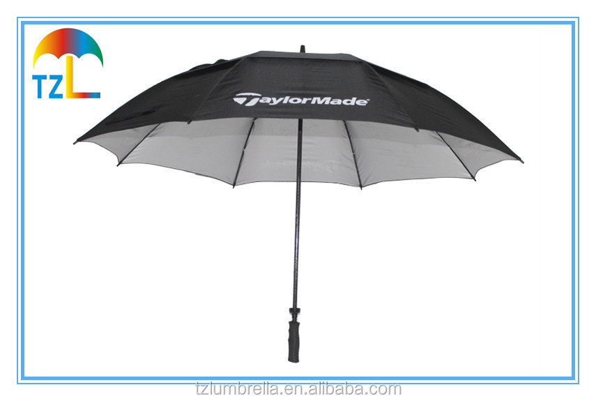 Double Canopy Promotional Golf Umbrella , Silver Coating Black UV Protection