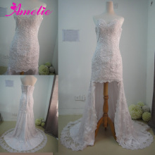 Sweetheart Neckline Short Front Long Back Lace Wedding Dress