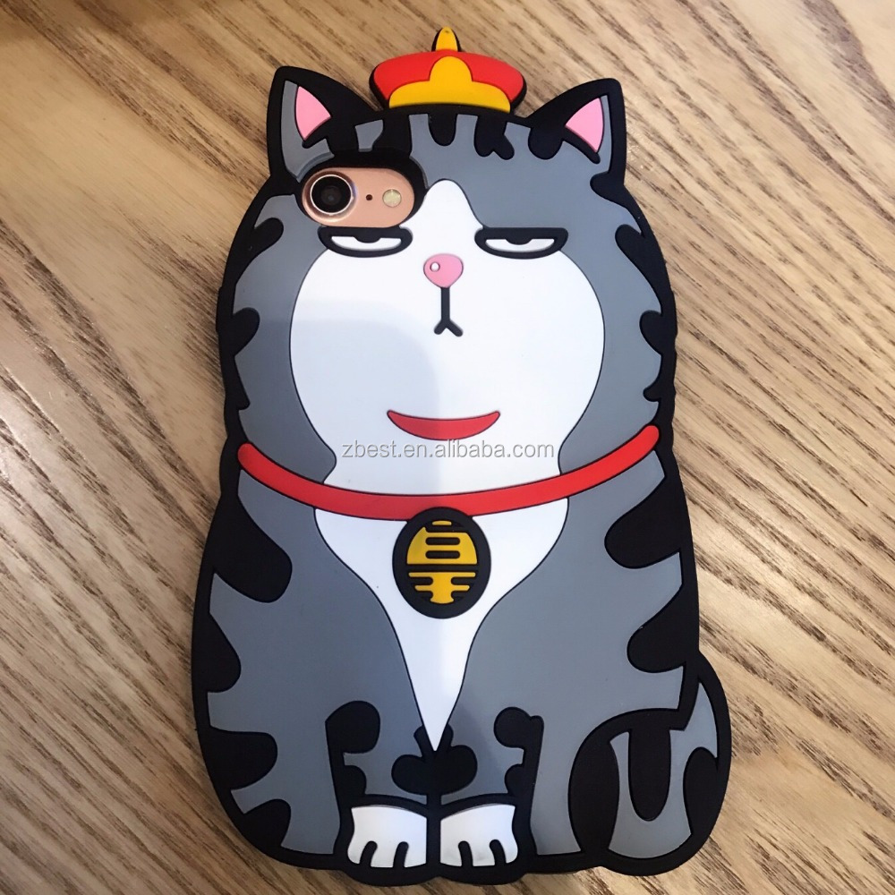 Wholesale Silicone Back Cover 3D Animal Phone Case For iPhone 8 Plus Cute Cat Crown Rubber Case