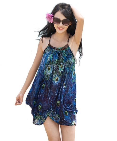 Summer Style 2015 New Fashion Women Bohemia Style Strap Print Asymmetric Hem Loose Casual Beach Dress Vestidos ST0131