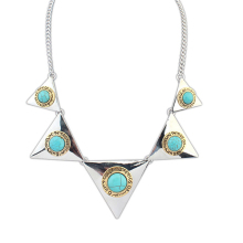 Spike punk fashion jewelry choker emerald stone necklace designs california wholesale jewelry (AM-N64)