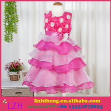 2016 New rose red Flower Girl Dresses 4-12 years Girl Party Dress Short Front Long Back Kids