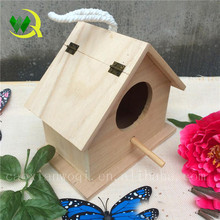 Hot sale wooden bird house crafts with lid hot quality cheap wooden carved bird cage/house