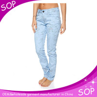2014 modern cotton new pattern cotton jeans for women china manufacturer