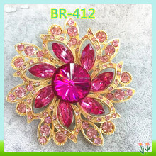 fashion funny pink crystal brooch, korean brooch for decoration