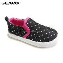 SEAVO SS18 wholesale no lace casual shoes upper with white dots black kids canvas shoes