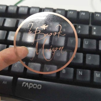 Custom Made Transparent Rose Gold Sticker Labels Clear Stickers Foiled