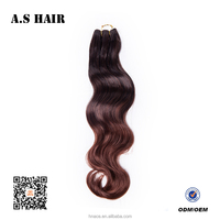 Top Quality Cheaper in price Ombre Brown Color Body Wave Hair weft Fiber Synthetic Tangle Free Hair Extension