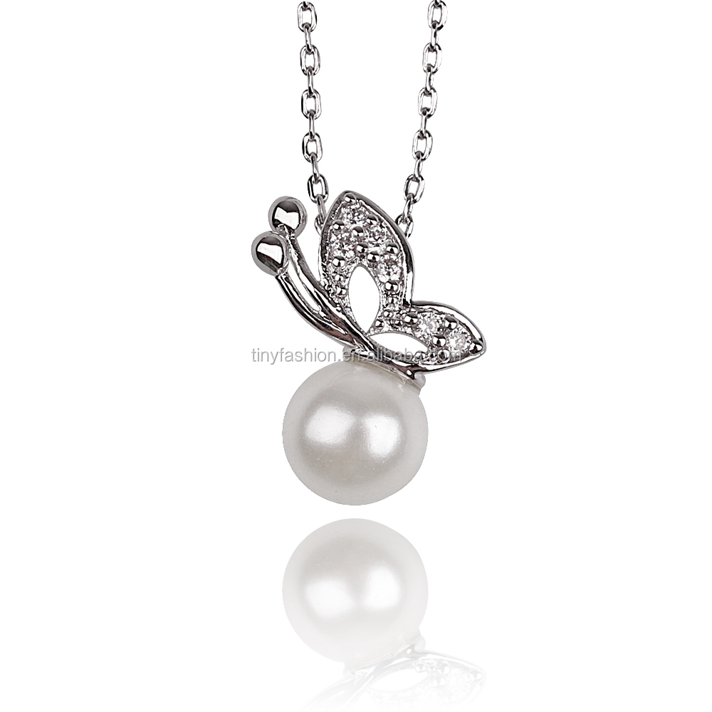 2016 new AAA zircon 18k white gold chic micro paved dainty thin chain pearl butterfly necklace