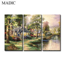 Village Landscape Oil Paintings 3 Piece Home Goods Wall Art Decorative Painting Pictures