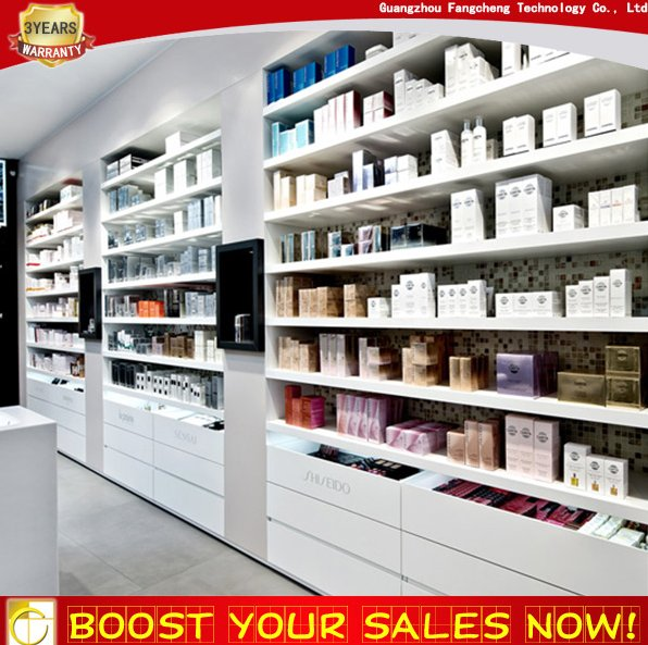 High end retail shop fixture cosmetic shelf drawer cabinet for makeup store decoration